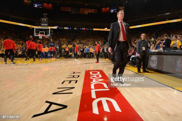 Terry Stotts of the Portland Trail Blazers walks on the court before Game Two of the Western Conference Quarterfinals against the Portland Trail...