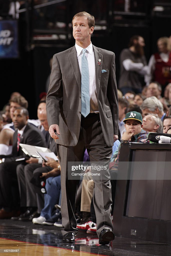 <a gi-track='captionPersonalityLinkClicked' href=/galleries/search?phrase=Terry+Stotts&family=editorial&specificpeople=653534 ng-click='$event.stopPropagation()'>Terry Stotts</a> of the Portland Trail Blazers walks up court against the Detroit Pistons on November 11, 2013 at the Moda Center Arena in Portland, Oregon.
