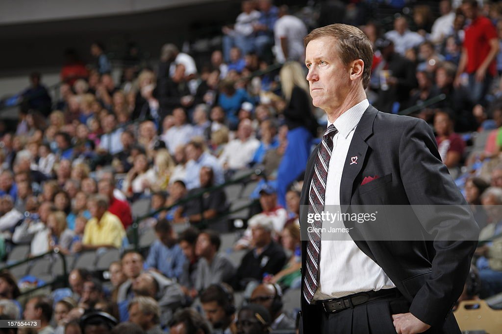 <a gi-track='captionPersonalityLinkClicked' href=/galleries/search?phrase=Terry+Stotts&family=editorial&specificpeople=653534 ng-click='$event.stopPropagation()'>Terry Stotts</a> of the Portland Trail Blazers watches on as his team plays the Dallas Mavericks on November 5, 2012 at the American Airlines Center in Dallas, Texas.