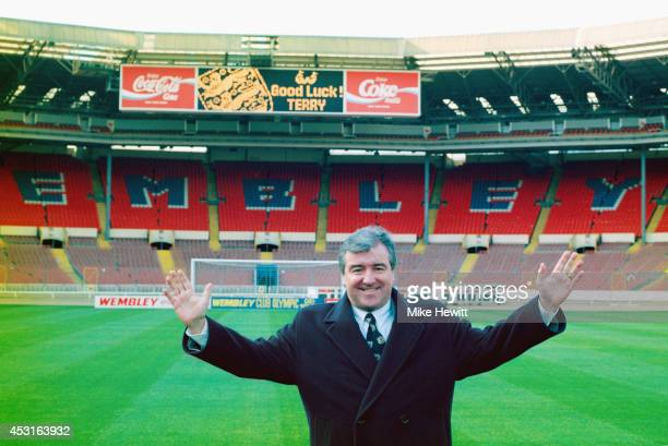 Terry Venables is unveiled as the new England manager at Wembley Stadium on January 28 1994 in London England