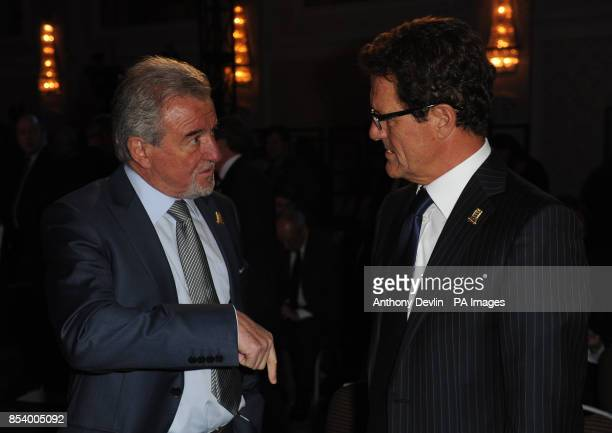 Terry Venables speaks with Fabio Capello during the FA Anniversary Celebrations Launch at the Grand Connaught Rooms London