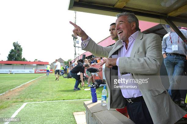 Terry Venables technical advisor of Wembley FC gestures during a Budweiser FA Cup Extra Preliminary Round at Vale Farm Stadium on August 11 2012 in...