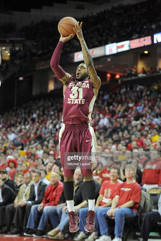 Terry Whisnett II#31 of the Florida State Seminoles takes a jump shot during a college basketball game against the Maryland Terrapins on January 9, 2013 at the Comcast Center in College Park, Maryland. The Seminoles won 65-61.