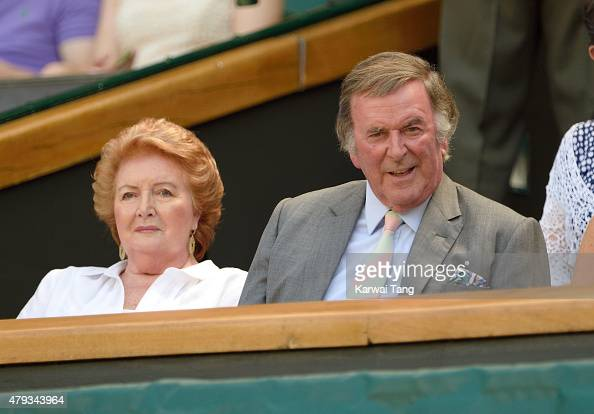 Terry Wogan and wife Helen attend the Grigor Dimitrov v Richard Gasquet match on day five of the annual Wimbledon Tennis Championships at Wimbledon...