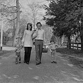 Terry Wogan takes a walk beside the River Thames with his wife Helen Joyce and their children Alan and Mark 17th March 1972