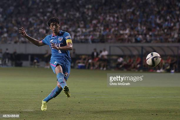 Teruaki Kobayashi of Sagan Tosu FC takes a shot at goal in the penalty shoot out during the friendly match between Atletico Madrid and Sagan Tosu FC...