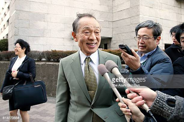 Teruhiko Asaoka and other lawyers for the defendants speak to reporters after the Supreme Court ruling on March 1 2016 in Tokyo Japan The Supreme...