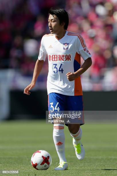 Teruki Hara of Albirex Niigata in action during the JLeague J1 match between Cerezo Osaka and Albirex Niigata at Kincho Stadium on June 4 2017 in...