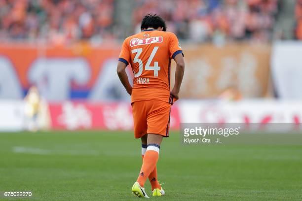 Teruki Hara of Albirex Niigata shows dejection after his side's 01 defeat in the JLeague J1 match between Albirex Niigata and Kashiwa Reysol at Denka...