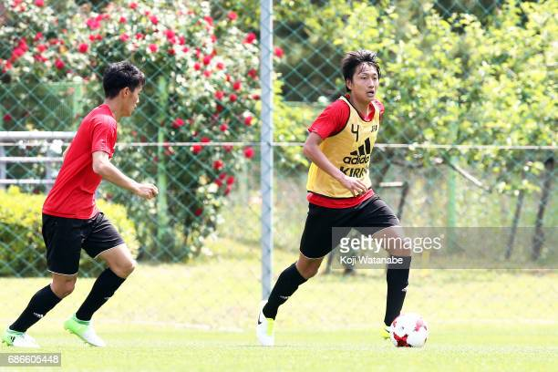 Teruki Hara of Japan in action during a training session ahead of the FIFA U20 World Cup Korea Republic 2017 group D match against Uruguay on May 22...