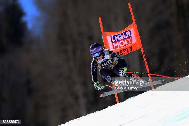 Tesa Worley of France skis during a training run for the ladies' downhill at the Audi FIS Ski World Cup Finals at Aspen Mountain at Aspen Mountain on...