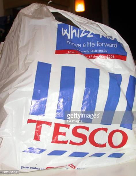 A Tesco carrier bag to illustrate the UK's largest retailer aims to cut the four billion plastic bags it dishes out annually by 25% within two years...