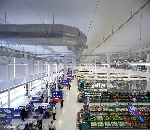 Tesco Michael Aukett Architects Orpington Kent Uk 2009 Elevated View Of Shop Floor Checkout Tills From Mezzanine This Flagship Project Is The First...