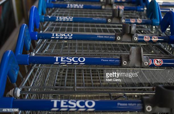 Tesco shopping trolleys are stacked outside a branch of the supermarket on November 18 2015 in Bristol England As the crucial Christmas retail period...