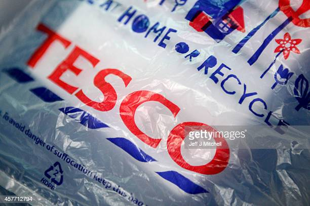 Tesco supermarket shopping bags are pictured on October 23 2014 in Glasgow Scotland Tesco one of Britain's biggest supermarkets has announced a 919%...