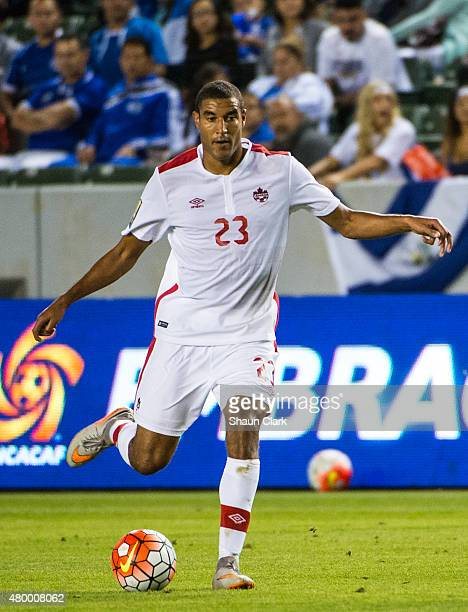 Tesho Akindele of Canada looks to pass the ball during the 2015 CONCACAF Gold Cup Group B match between El Salvador and Canada at the StubHub Center...