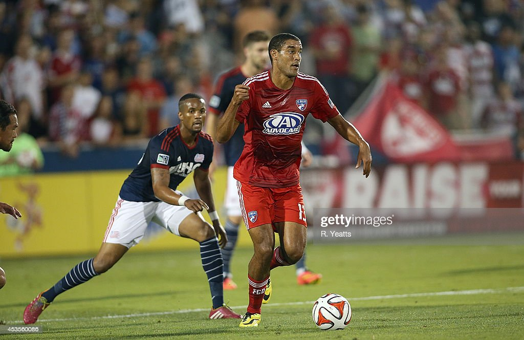Tesho Akindele #13 of FC Dallas handles the ball against the New England Revolution at Toyota Stadium on July 19, 2014 in Frisco, Texas.
