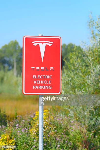 Tesla Electric Car Supercharger Charging Station Sign