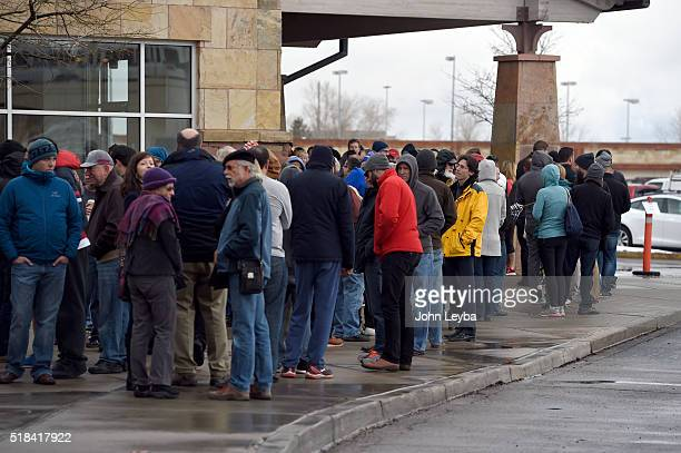 Tesla fans stand in long lines at Park Meadows March 31 2016 to preorder the new Tesla due to be unveiled Thursday night Some Tesla fans showed up as...