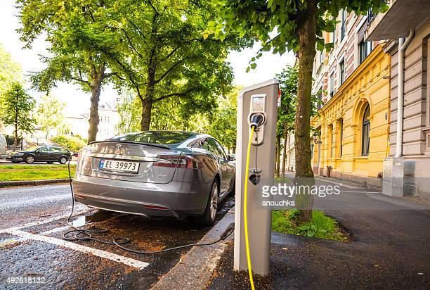 Tesla is charging on Oslo street, Norway