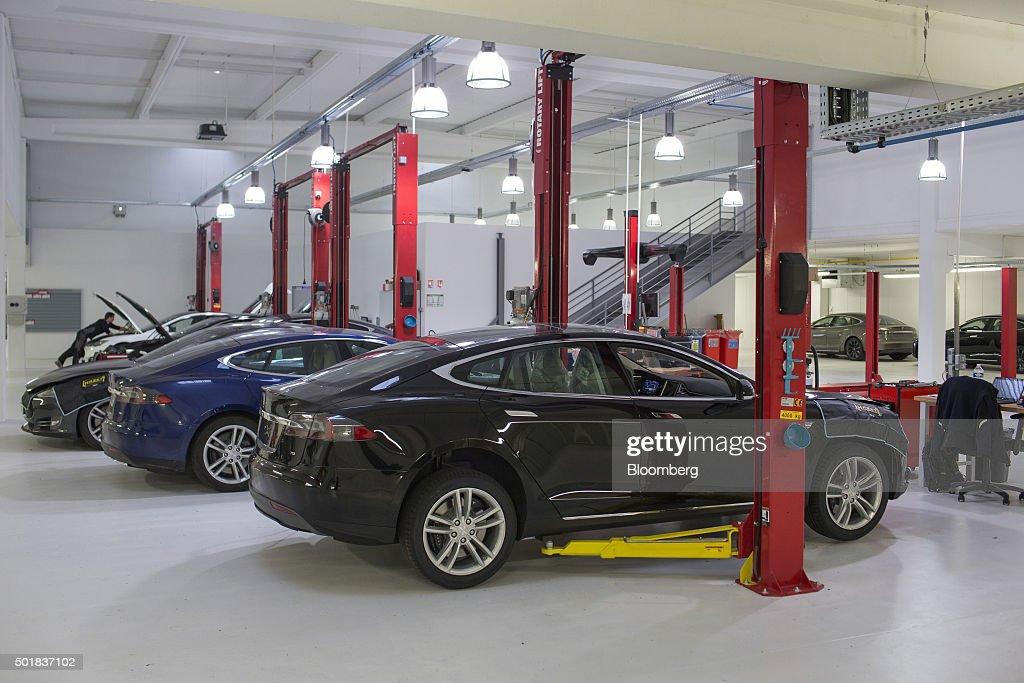 Inside A Tesla Motors Inc Showroom As Electric Automaker