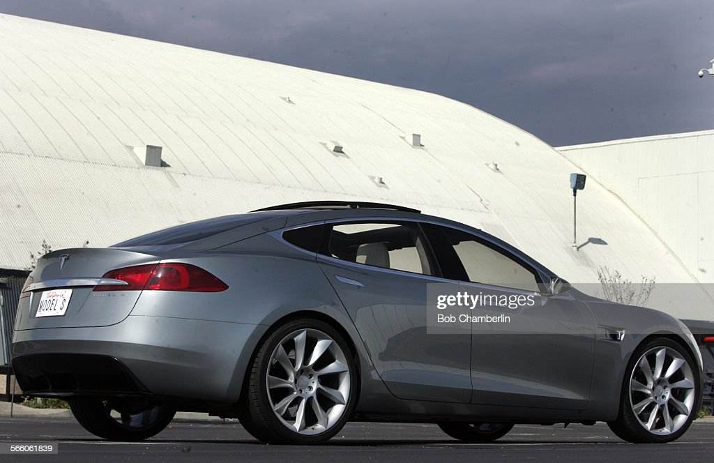 Tesla Model S Electric Car On Tarmac At Spacex Before Designer