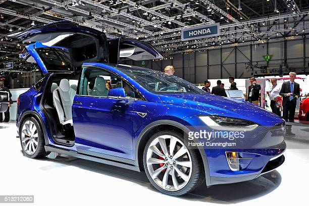 Tesla Model X is displayed during the Geneva Motor Show 2016 on March 1 2016 in Geneva Switzerland The 86th International auto show will run from...