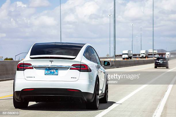 Tesla Model X on the road in Arizona.