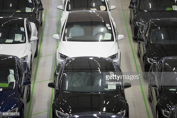 Tesla Model X sports utility vehicles stand on the factory floor after assembly for the European market at the Tesla Motors Inc factory in Tilburg...