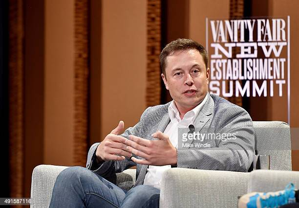 Tesla Motors CEO and Product Architect Elon Musk speaks onstage during 'What Will They Think of Next Talking About Innovation' at the Vanity Fair New...