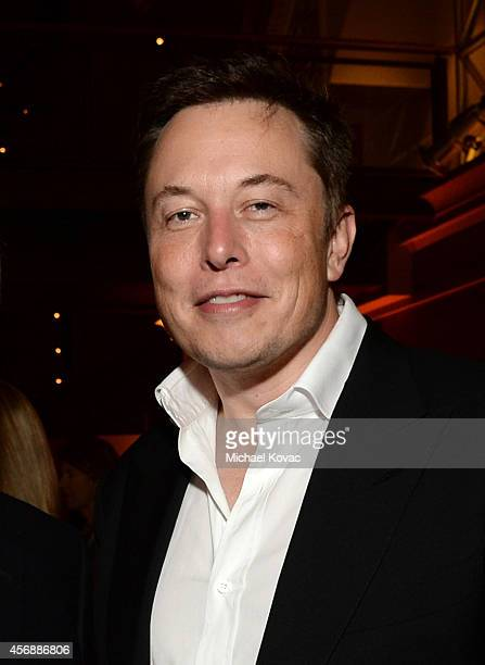 Tesla Motors CEO and SpaceX CEO Elon Musk attends the Vanity Fair New Establishment Summit Cockatil Party on October 8 2014 in San Francisco...