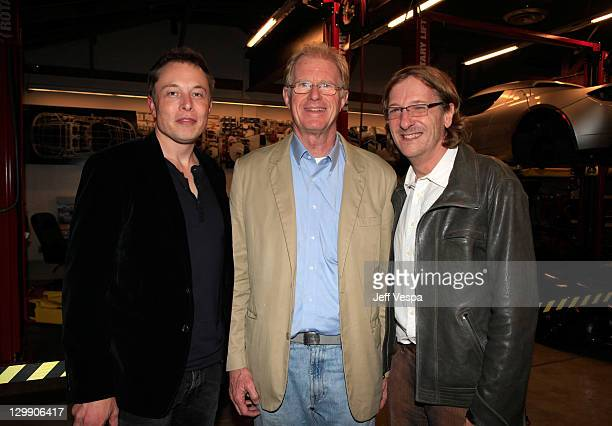 Tesla Motors CEO Elon Musk actor Ed Begley Jr and Director Chris Paine attend the 'Revenge Of The Electric Car' Premiere after party held at Tesla...