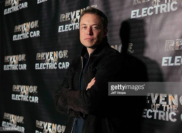 Tesla Motors CEO Elon Musk arrives at 'Revenge Of The Electric Car' Premiere held at Landmark Nuart Theatre on October 21 2011 in Los Angeles...