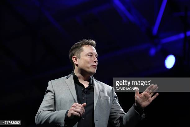 Tesla Motors CEO Elon Musk unveils large utility scale home batteries at the Tesla Design Studio in Hawthorne California April 30 2015 Electric car...