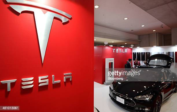 A Tesla Motors Inc Model S electric vehicle is displayed at the 43rd Tokyo Motor Show 2013 in Tokyo Japan on Thursday Nov 21 2013 The autoshow will...