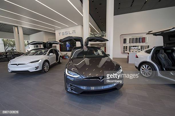 Tesla Motors Inc Model X vehicles are displayed at the company's new showroom in San Francisco California US on Wednesday Aug 10 2016 Tesla Motors...
