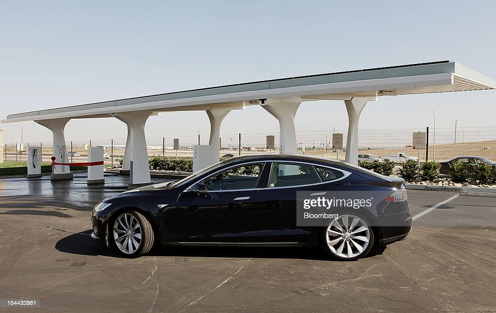 Views Of Superchargers At A Tesla Motors Supercharger Station