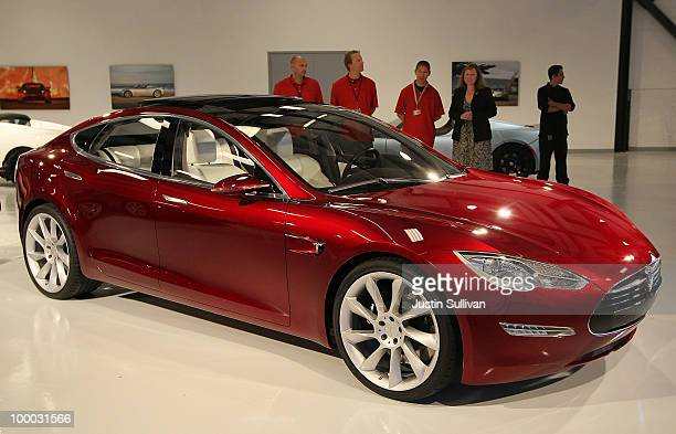 Tesla Motors Model S is displayed in the Tesla showroom before a news conference at Tesla Motors headquarters May 20 2010 in Palo Alto California...