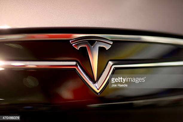 Tesla Motors vehicle is seen on the showroom floor at the Dadeland Mall on February 19 2014 in Miami Florida Tesla said today it earned $46 million...