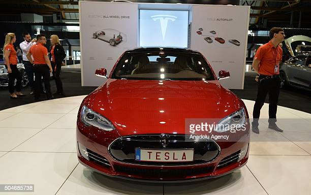 Tesla on display during the Brussels Auto Show at Expo Center in Brussels Belgium on 12 2016