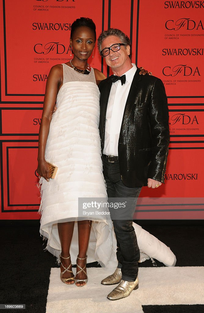 Tess Cazabat and Jean-Michel Cazabat attend 2013 CFDA FASHION AWARDS Underwritten By Swarovski - Red Carpet Arrivals at Lincoln Center on June 3, 2013 in New York City.