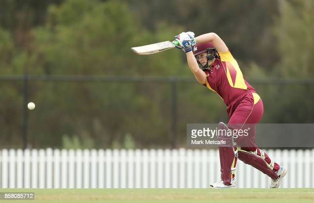 Tess Cooper of Queensland bats during the WNCL match between New South Wales and Queensland at Blacktown International Sportspark on October 6 2017...