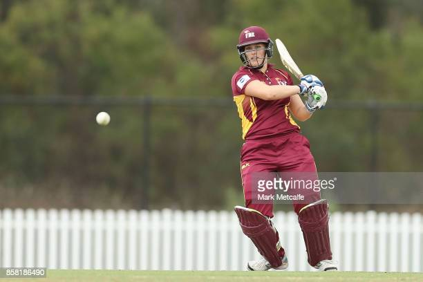 Tess Cooper of Queensland bats during the WNCL match between New South Wales and Queensland at Manuka Oval on October 6 2017 in Sydney Australia