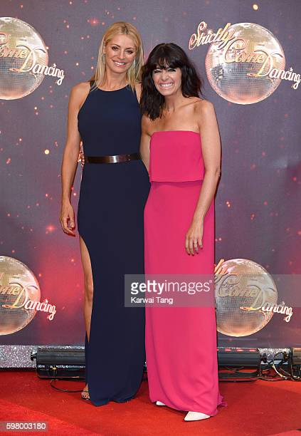 Tess Daly and Claudia Winkleman arrive for the Red Carpet Launch of 'Strictly Come Dancing 2016' at Elstree Studios on August 30 2016 in Borehamwood...