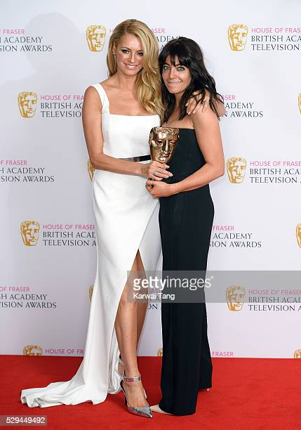 Tess Daly and Claudia Winkleman with the award for best entertainment programme for 'Strictly Come Dancing' pose in the winners room at the House Of...