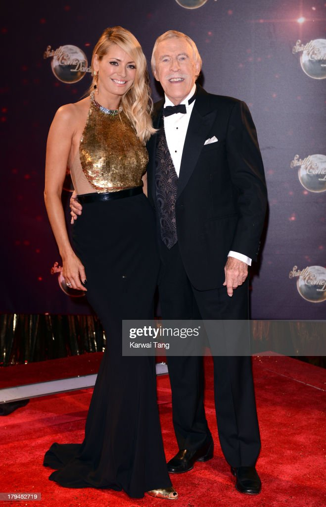 Tess Daly and Sir Bruce Forsyth attend the red carpet launch for 'Strictly Come Dancing' at Elstree Studios on September 3, 2013 in Borehamwood, England.
