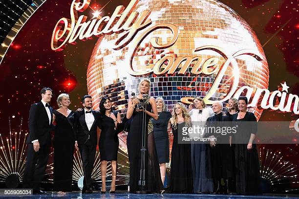 Tess Daly celebrates winning the award for Best Talent Show for Strictly Come Dancing at the 21st National Television Awards at The O2 Arena on...
