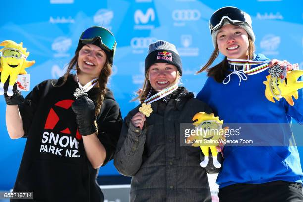 Tess Ledeuxof France wins the gold medal Emma Dahlstrom of Sweden wins the silver medal Isabel Atkin of Great Britain wins the bronze medal during...