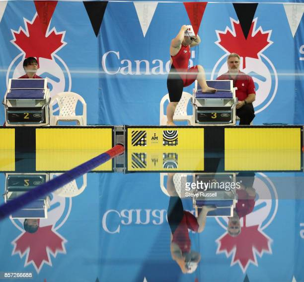 TORONTO ON OCTOBER 3 Tess Routliffe of Canada prepares to swim the 100 metres breaststroke as the Paraswimming athletes compete in the ParaSwimming...