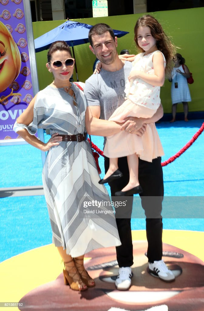 Tess Sanchez, actor Max Greenfield, and Lilly Greenfield attend the premiere of Columbia Pictures and Sony Pictures Animation's 'The Emoji Movie' at Regency Village Theatre on July 23, 2017 in Westwood, California.